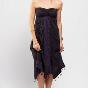 Free People Black Embroidered 100% Cotton Dress
